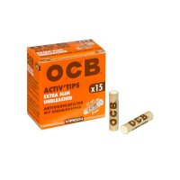 OCB - Activ Tips Extra Slim UNBLEACHED - 15 Stk.